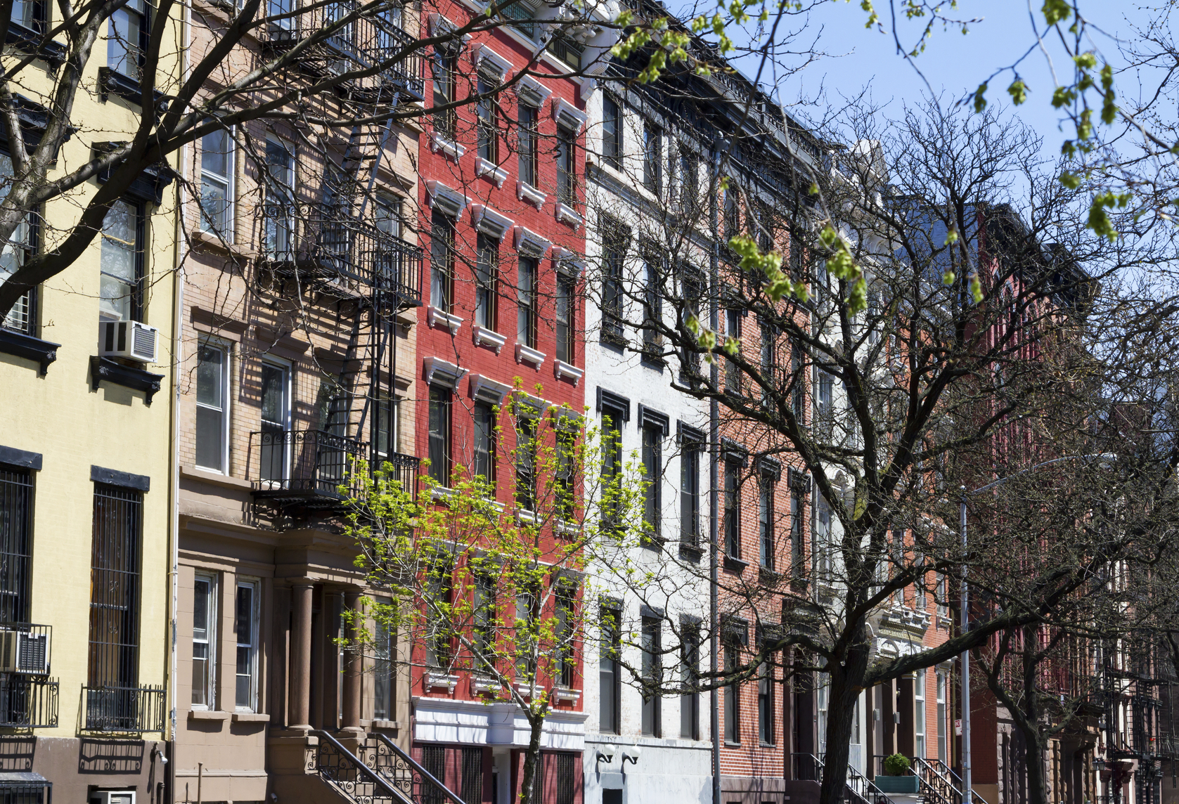 Row of buildings on a block near Tompkins Square Park in Manhattan, New York City